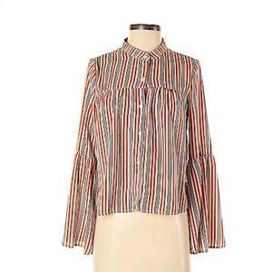 Love Fire Striped Bell Sleeve Blouse
